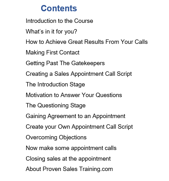 Contents of the making cold calls for sales appointment course