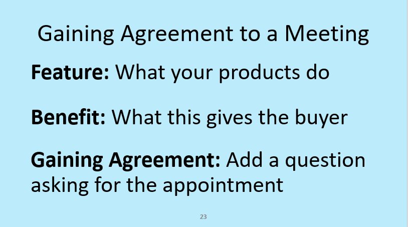 Gaining agreement to a sales appointment