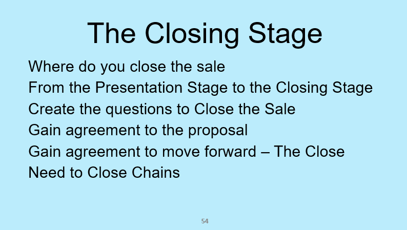The closing stage from the sales training course: Selling Success