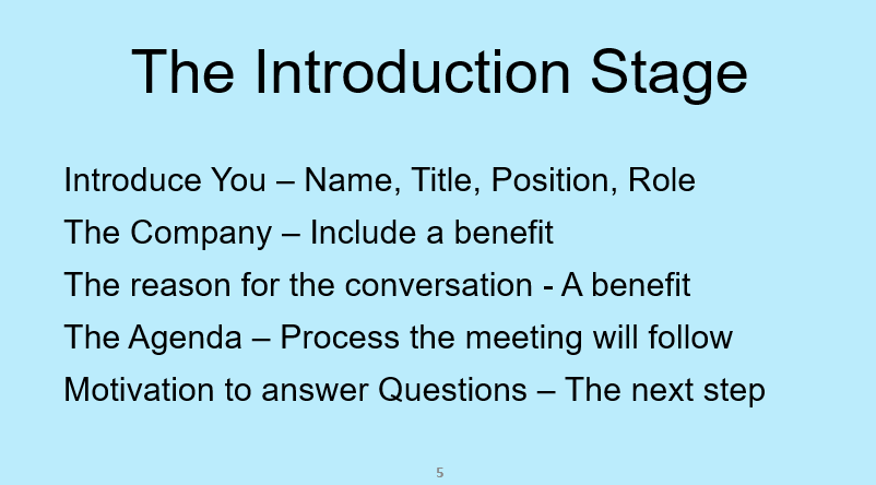 Sales Introduction Training to start your sales conversation off effectively