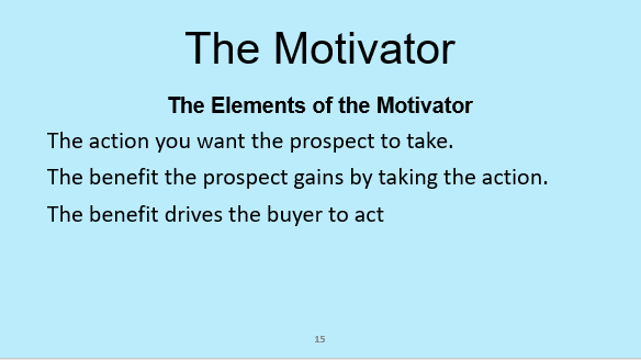 Slide from the sales course Selling Success