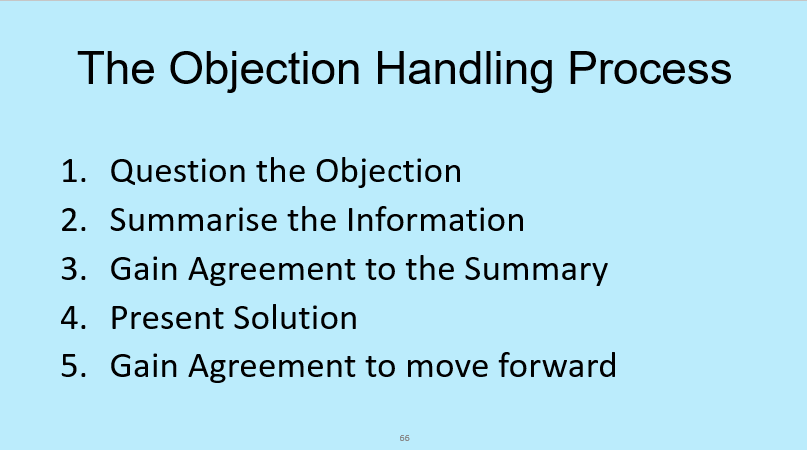 The process for handling sales objections