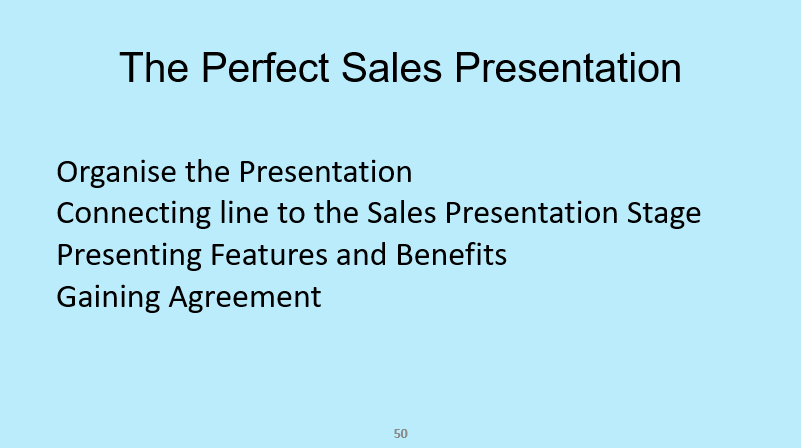 The presentation stage from the sales training course Selling Success