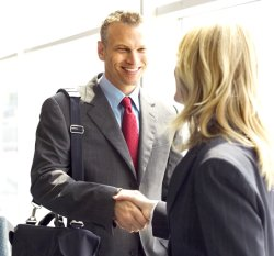 sales man shaking hands