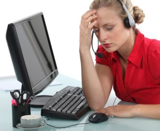 Telesales Girl with Headache