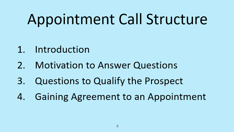 The stages of a sales appointment cold calling script