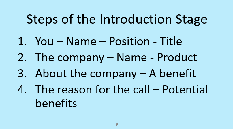 The steps of a sales appointment call introduction stage